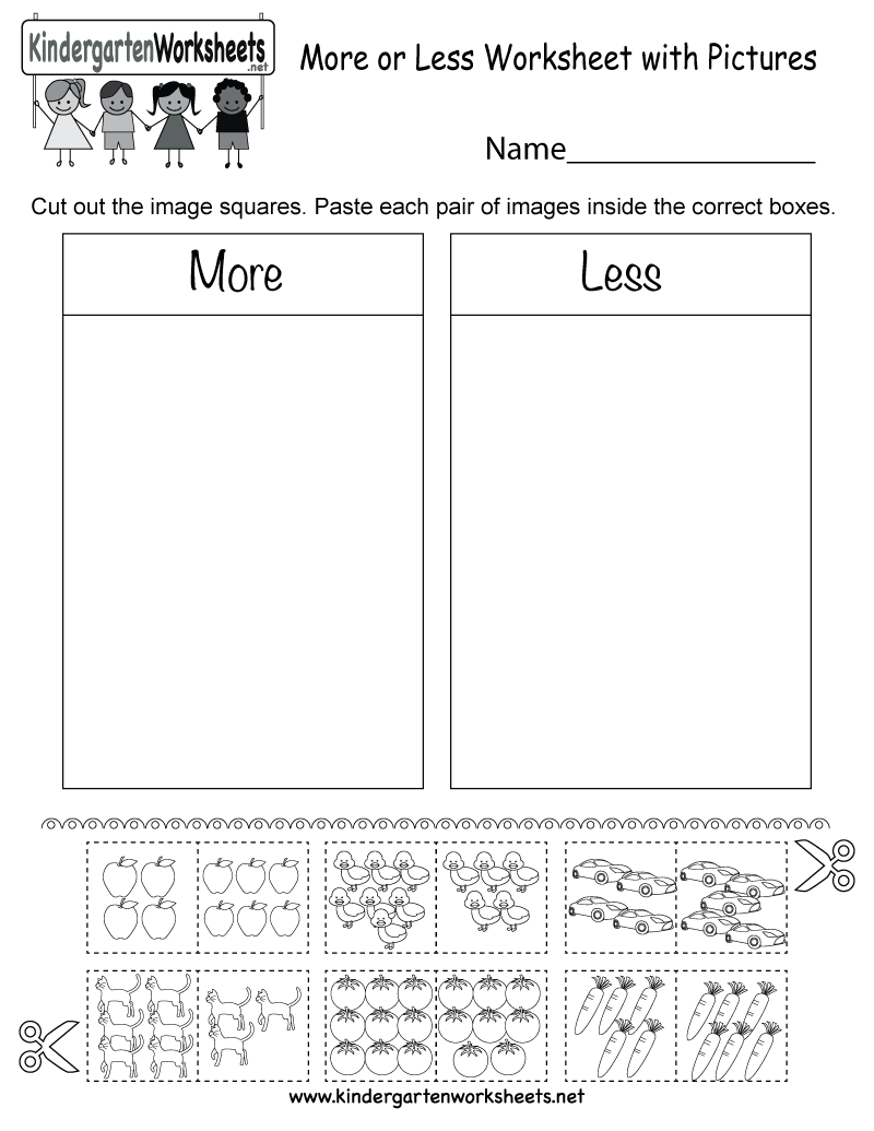 More or Less Worksheet with Pictures - Free Kindergarten ...