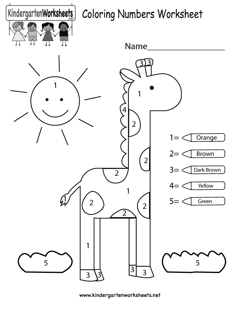 Kindergarten Coloring Numbers Worksheet Printable