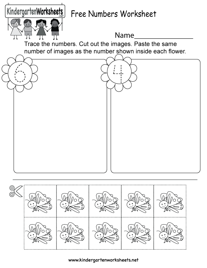 Kindergarten Free Numbers Worksheet Printable