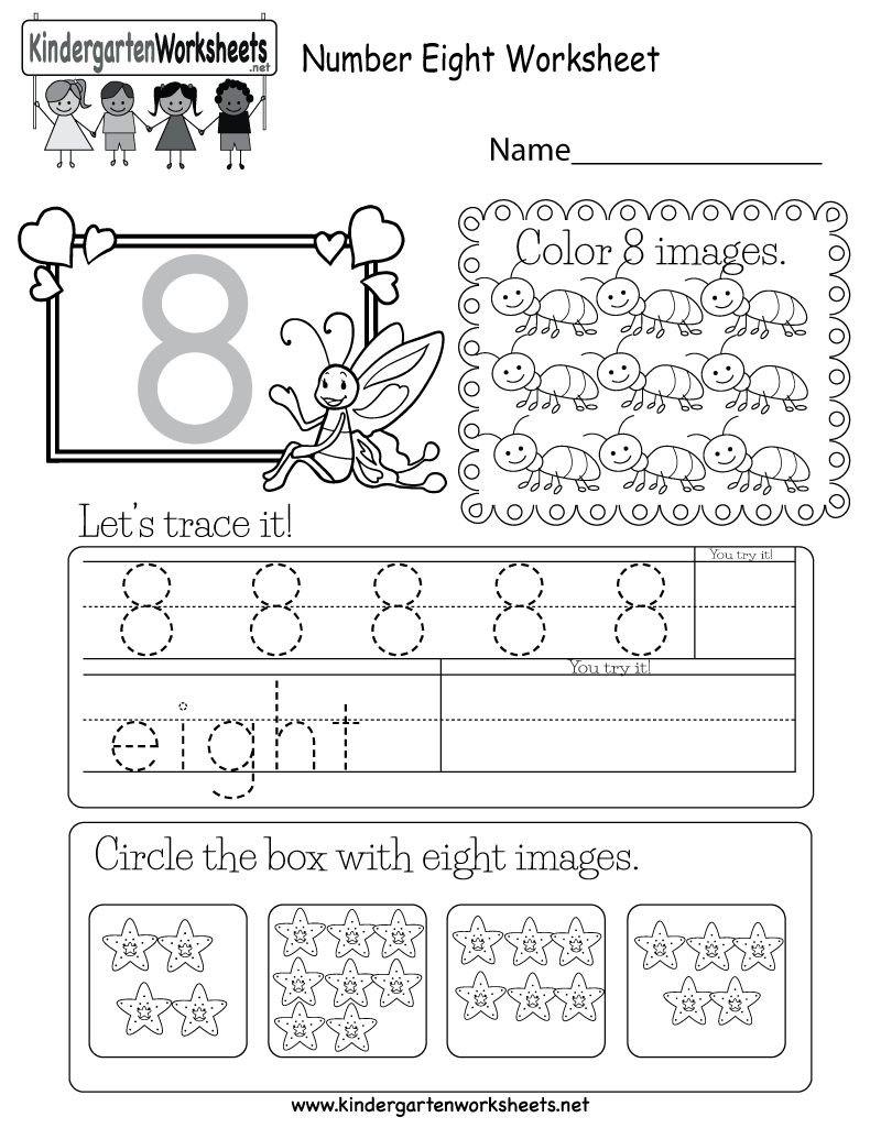 Number Eight Worksheet - Free Kindergarten Math Worksheet for Kids