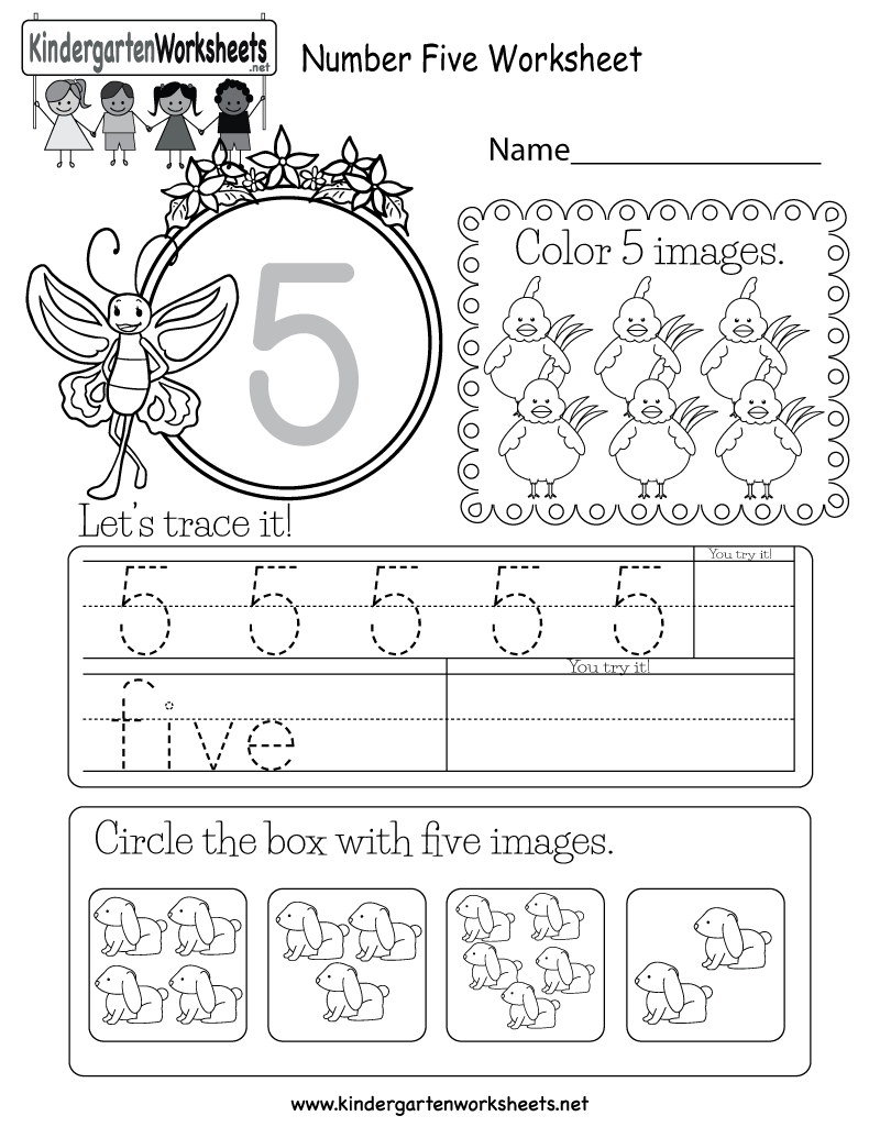 Number Five Worksheet - Free Kindergarten Math Worksheet for Kids