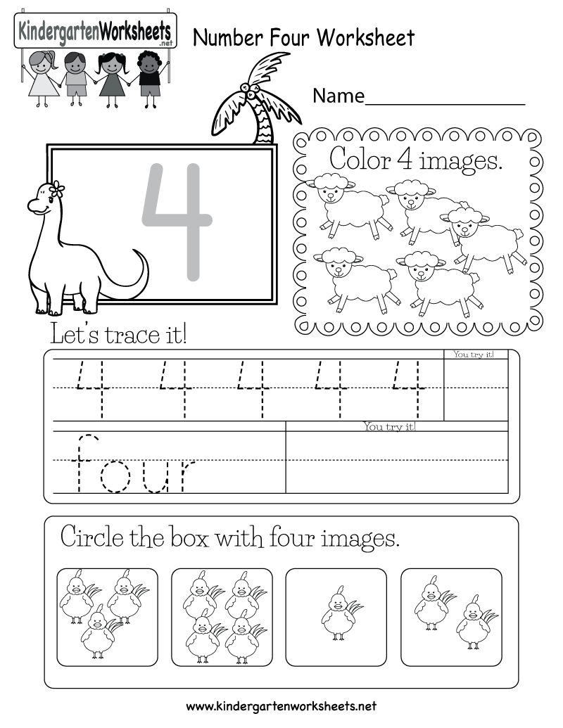 Number Four Worksheet - Free Kindergarten Math Worksheet for Kids