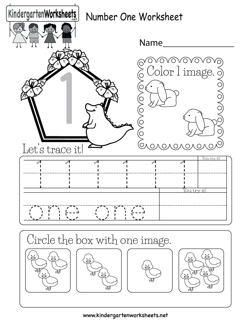 Kindergarten Number One Worksheet Printable