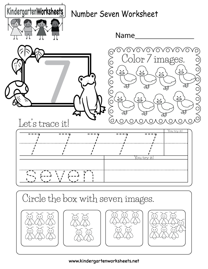 number seven worksheet free kindergarten math worksheet for kids. Black Bedroom Furniture Sets. Home Design Ideas
