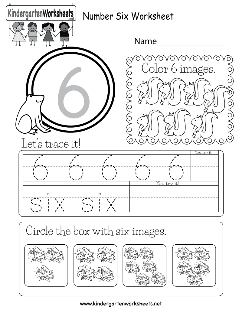 Number Six Worksheet - Free Kindergarten Math Worksheet for Kids