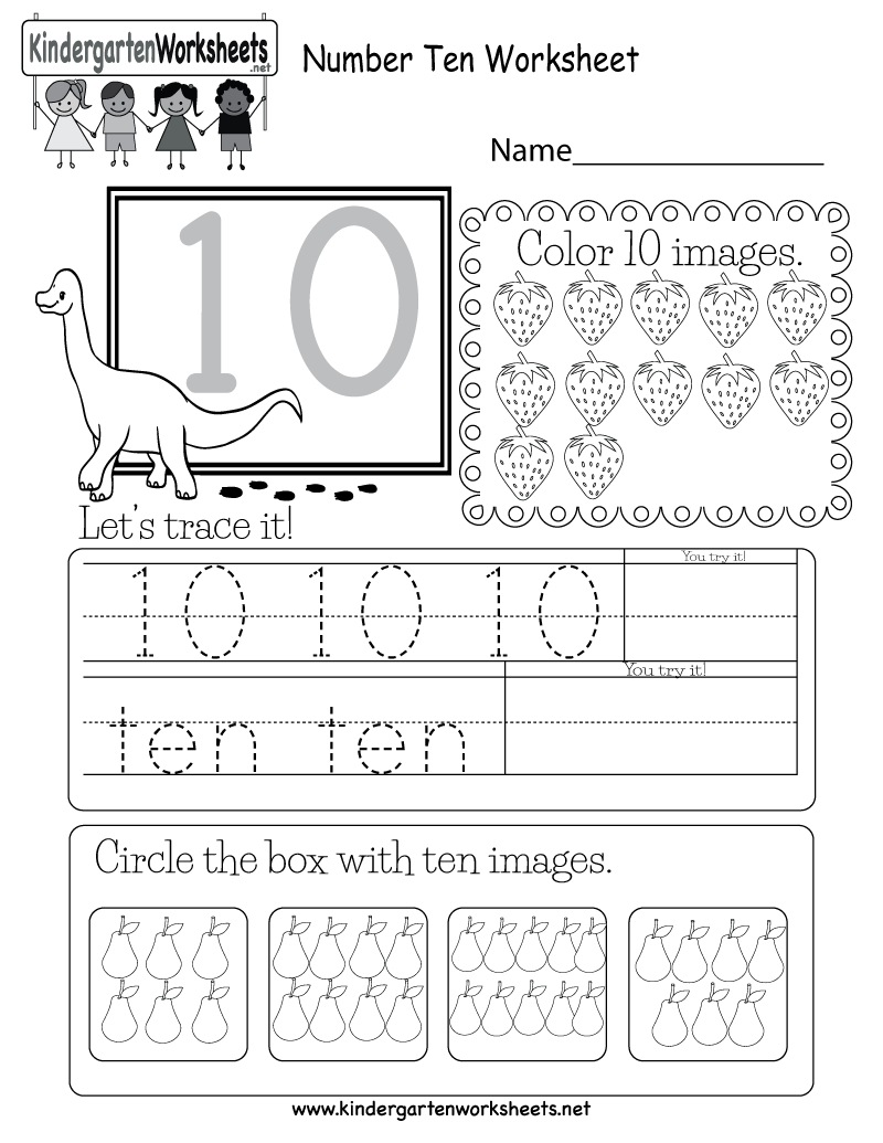 Kindergarten Number Ten Worksheet Printable