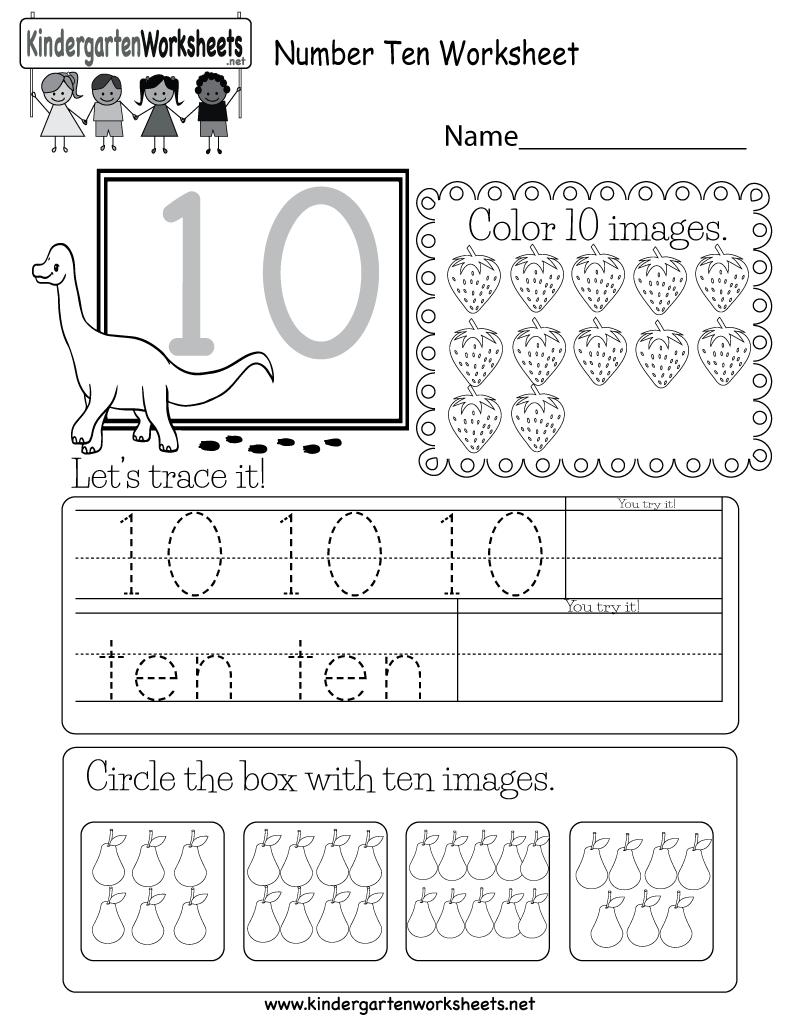 Number Ten Worksheet   Free Kindergarten Math Worksheet ...