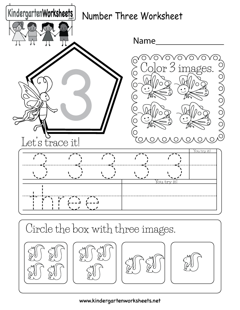 Kindergarten Number Three Worksheet Printable