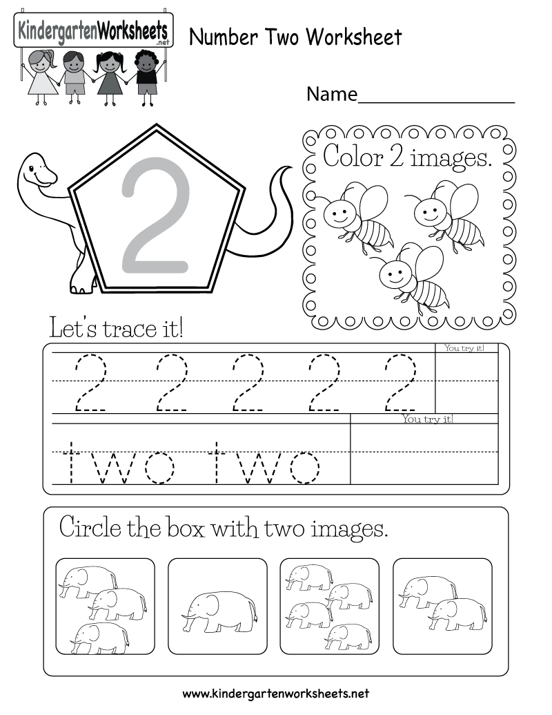 Number Two Worksheet - Free Kindergarten Math Worksheet for Kids