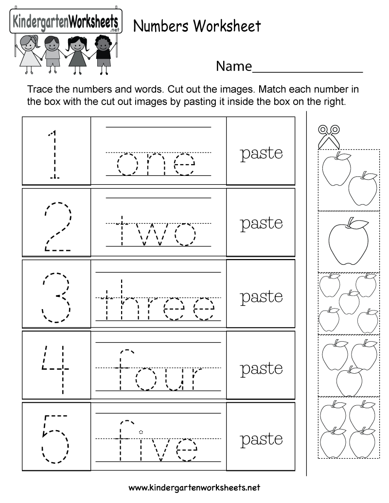 Kindergarten Numbers Worksheets - Learning numbers is a fun activity.