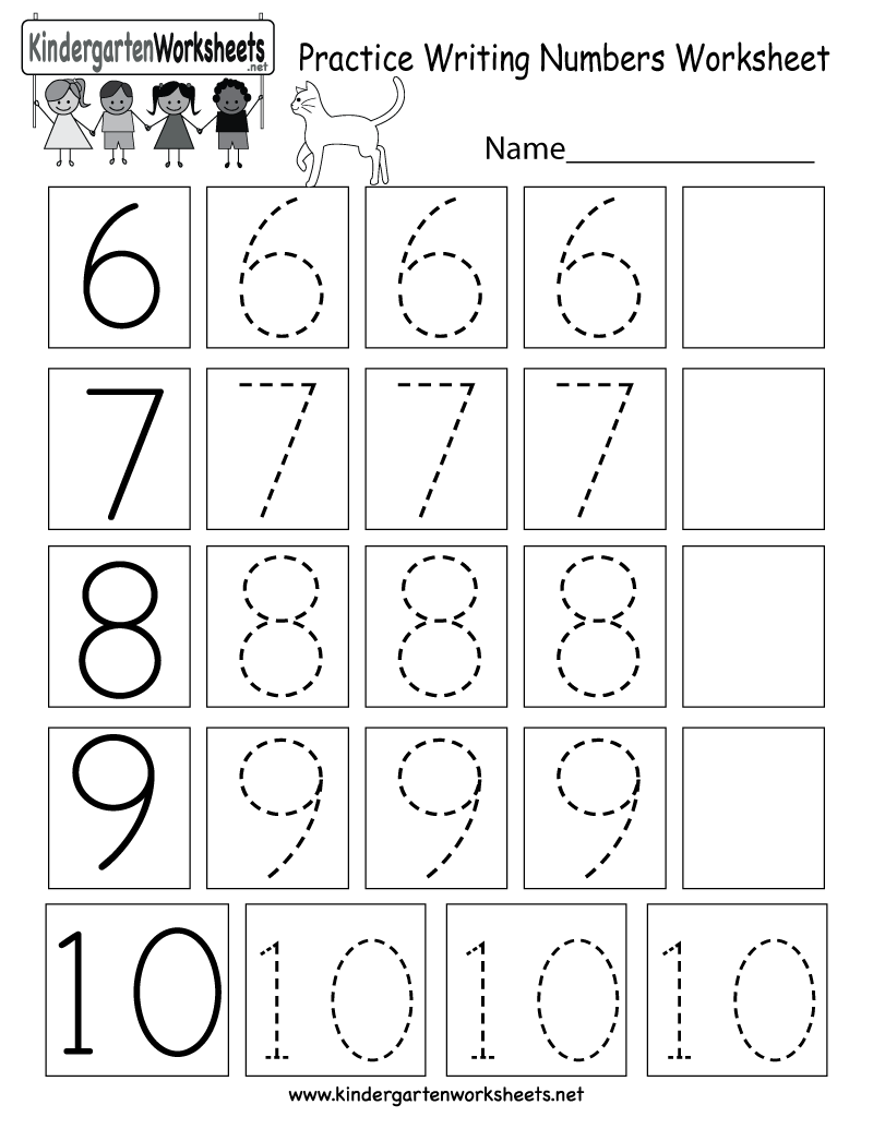 Practice Writing Numbers Worksheet - Free Kindergarten Math ...