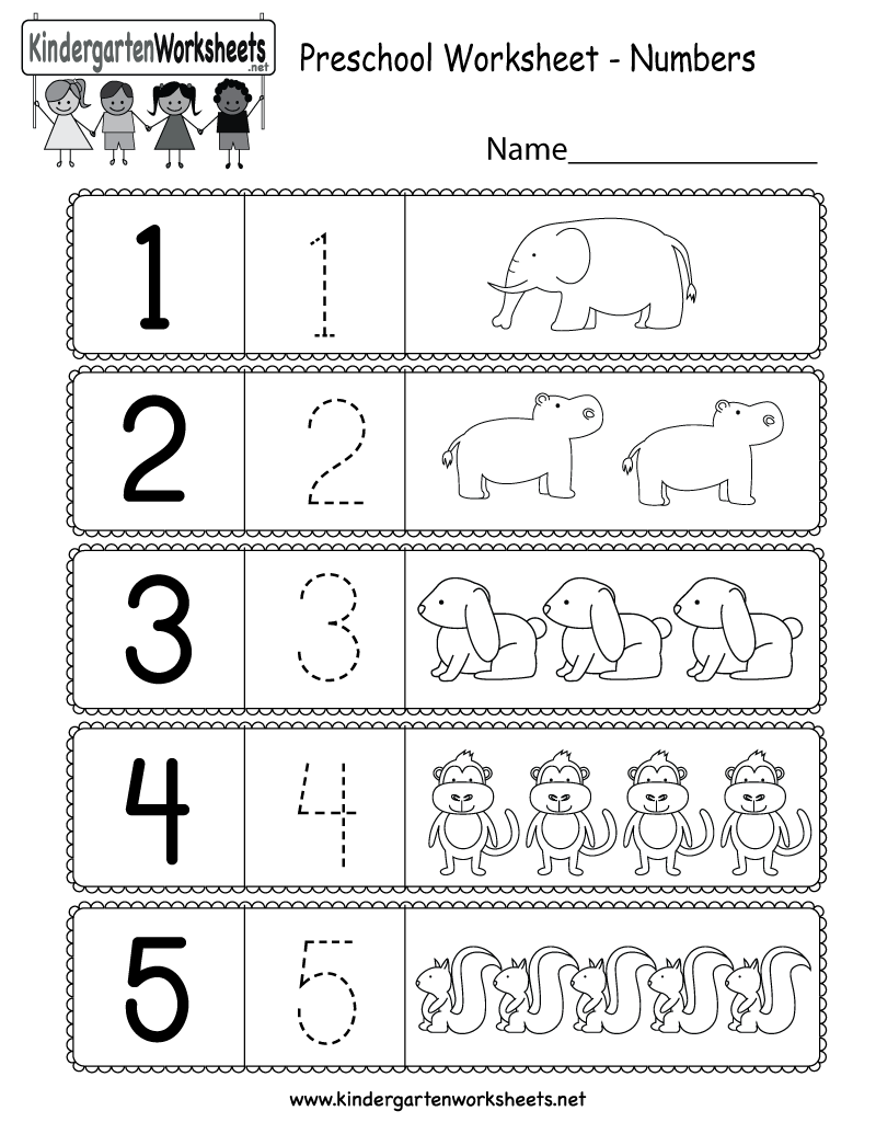 Free Printable Preschool Worksheet Using Numbers for Kindergarten