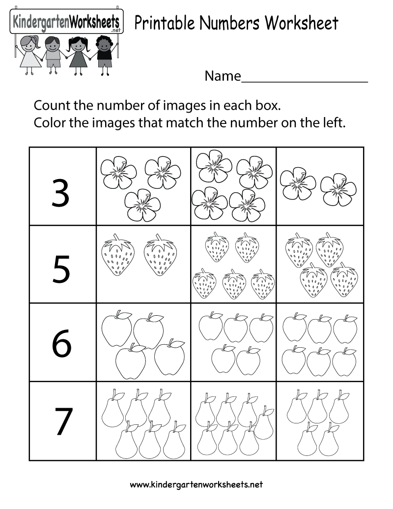 Printable Numbers Worksheet Free Kindergarten Math Worksheet for – Free Kindergarten Number Worksheets