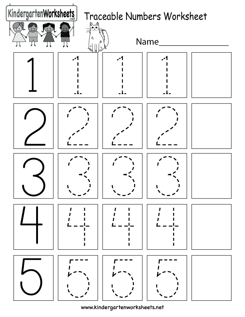 Traceable Numbers Worksheet Free Kindergarten Math