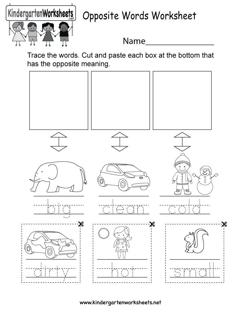 Kindergarten English Opposites Worksheet Printable