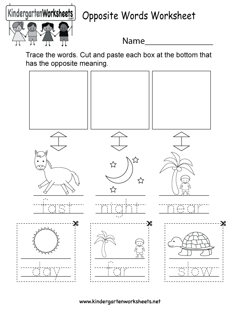 math worksheet : free kindergarten opposite words worksheets  understanding the  : Kindergarten Word Worksheets