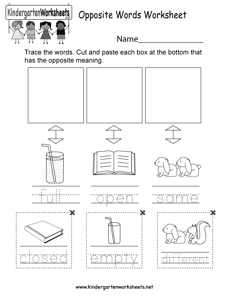 Kindergarten Opposite Meanings Worksheet Printable