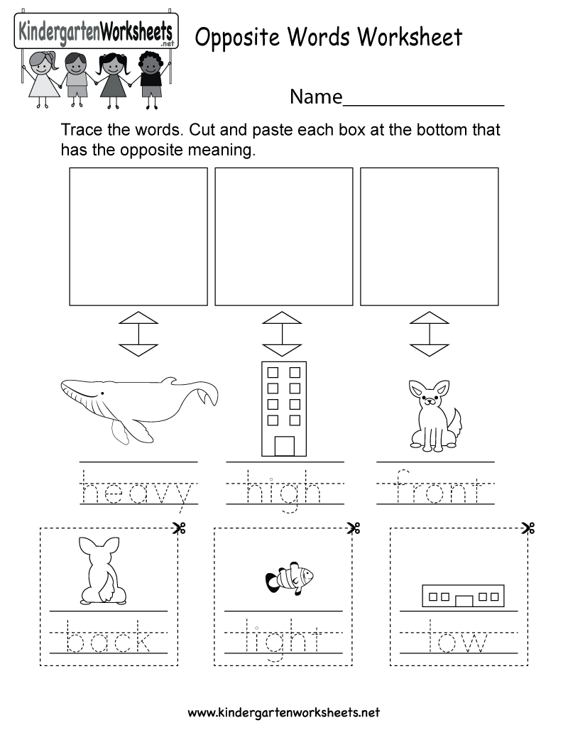 Kindergarten Opposite Words Worksheet Printable
