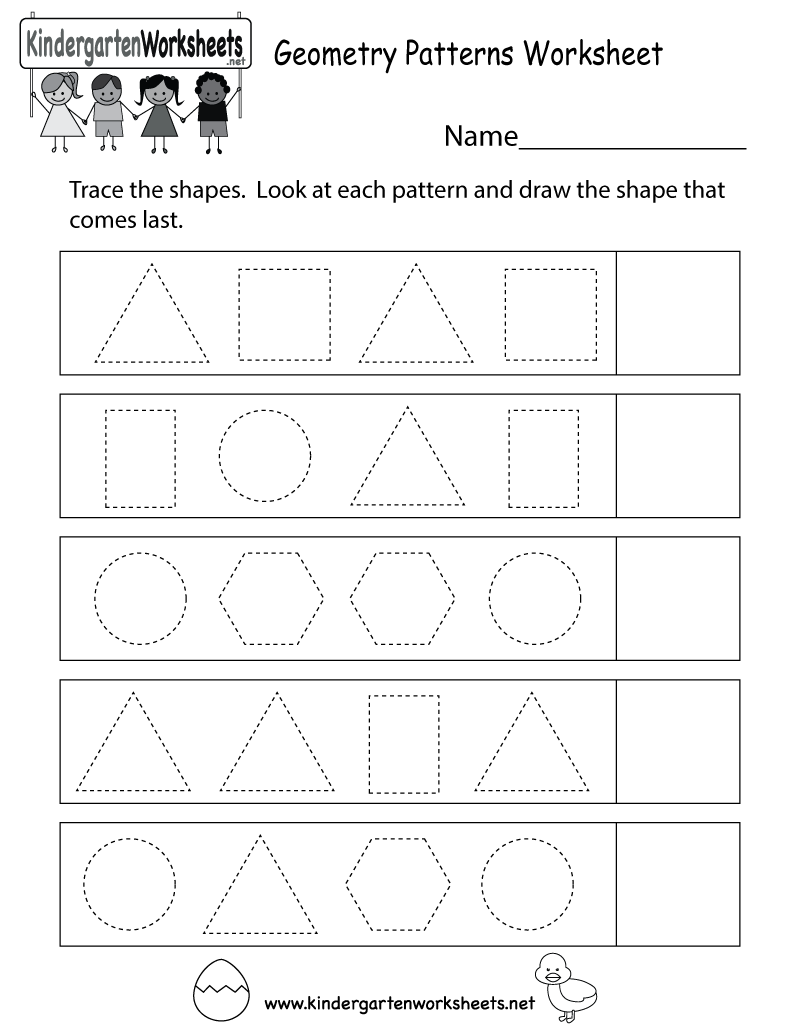 Geometry Patterns Worksheet - Free Kindergarten Math Worksheet for ...