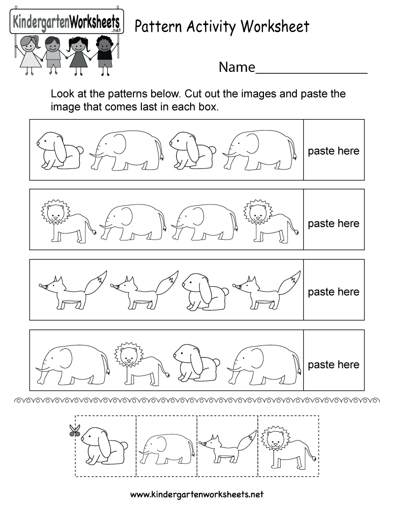 pattern activity worksheet free kindergarten worksheet for kids. Black Bedroom Furniture Sets. Home Design Ideas