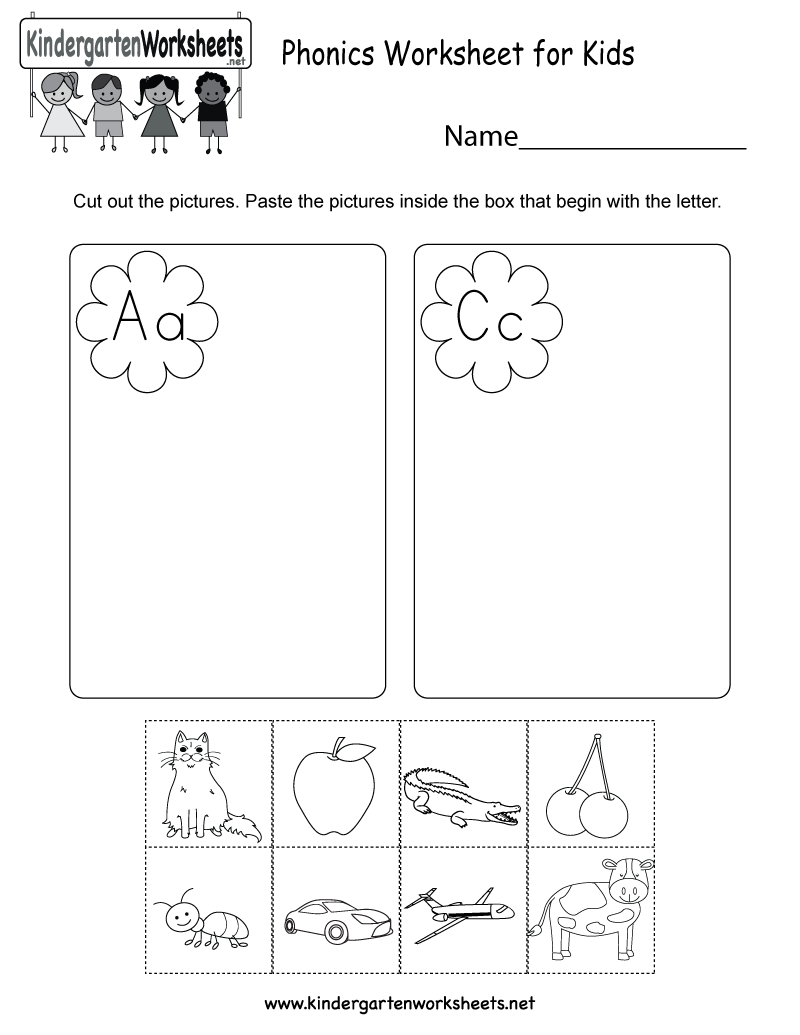 Kindergarten Kids Phonics Worksheet Printable