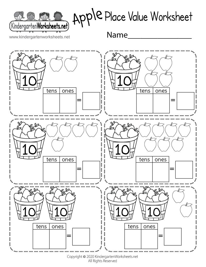 Kindergarten Kids Place Value Worksheet Printable