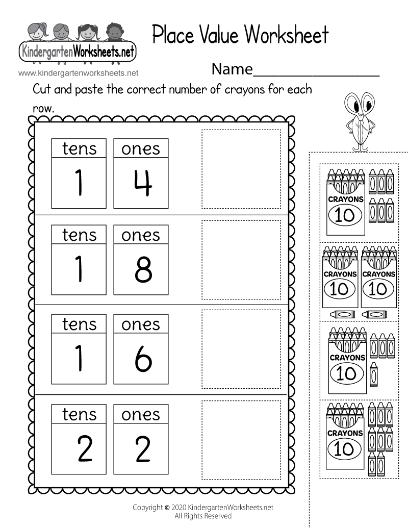 Place Value of Ones and Tens Worksheet - Free Kindergarten Math ...