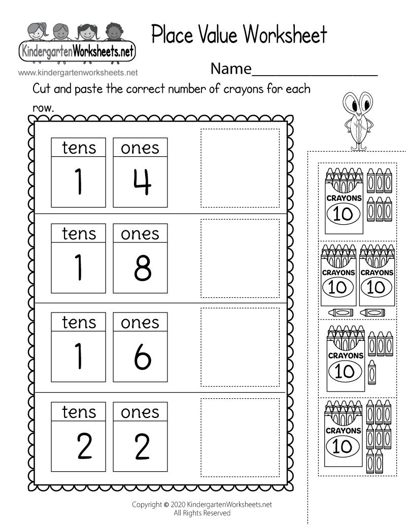 Kindergarten Tens and Ones Worksheet Printable