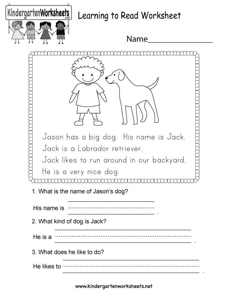 Kindergarten Learning To Read Worksheet Printable