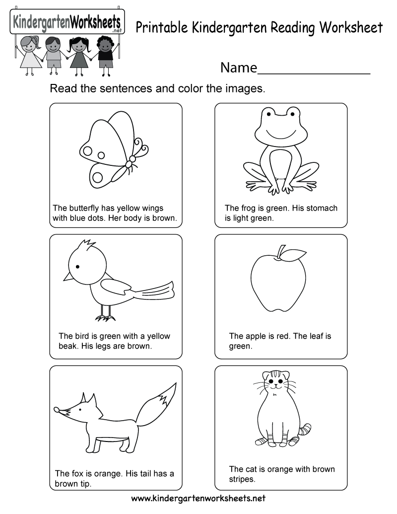 Printable Kindergarten Reading Worksheet - Free English Worksheet for Kids