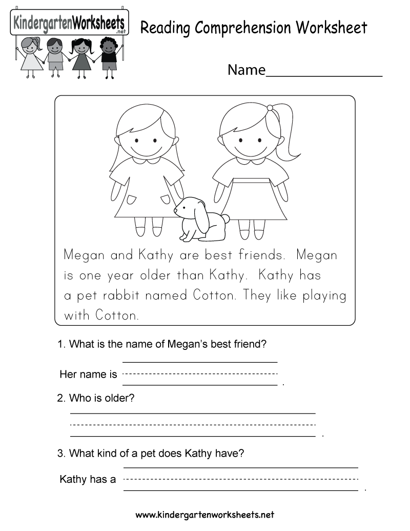 Kindergarten Reading Comprehension Worksheet Printable