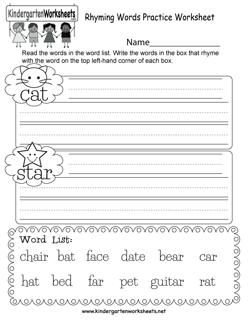 Kindergarten Rhyming Words Practice Worksheet Printable