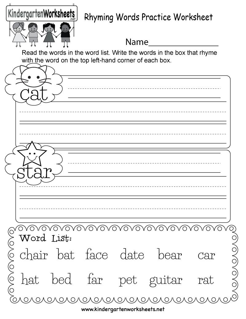 Workbooks rhyming words for kindergarten worksheets : Free Kindergarten Rhyming Words Worksheets - Understanding the ...