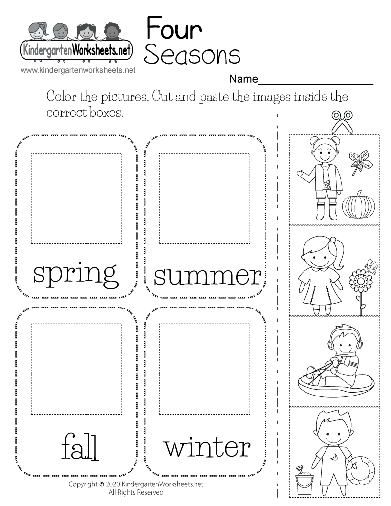 Four Seasons Worksheet for Kindergarten - Free Printable ...