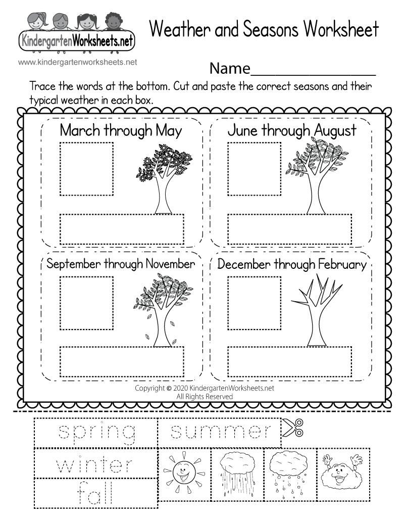 Weather and Seasons Worksheet for Kindergarten - Free ...