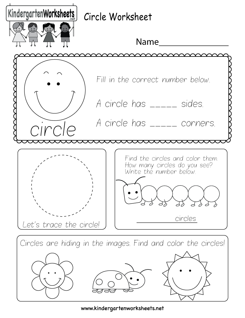 worksheet Circle Area Worksheet circle worksheet free kindergarten geometry for kids printable
