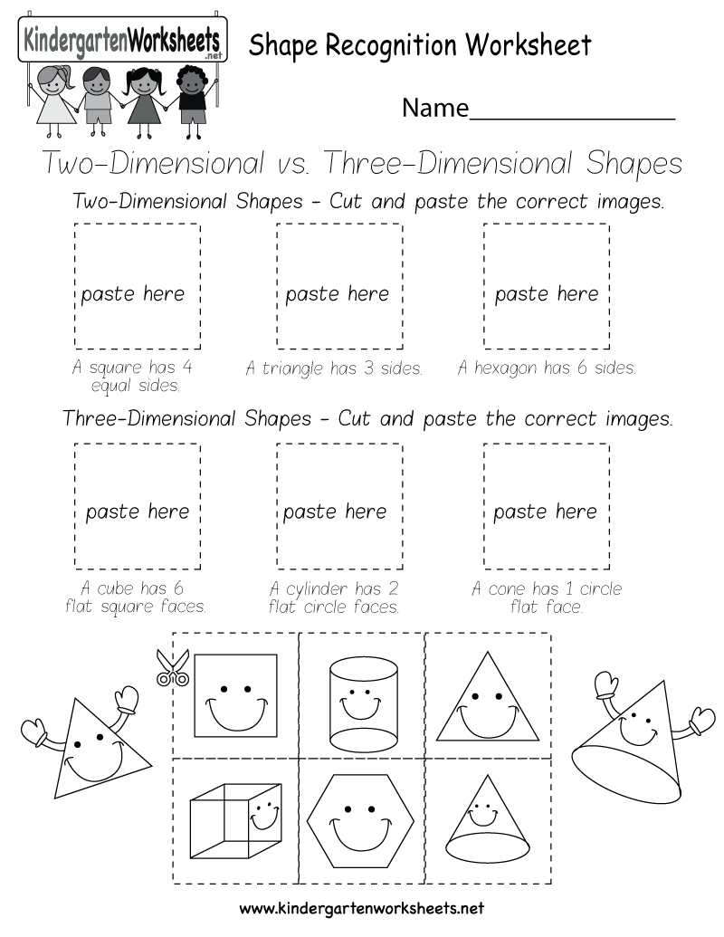 worksheet Kindergarten Shapes Worksheets shape recognition worksheet free kindergarten geometry printable