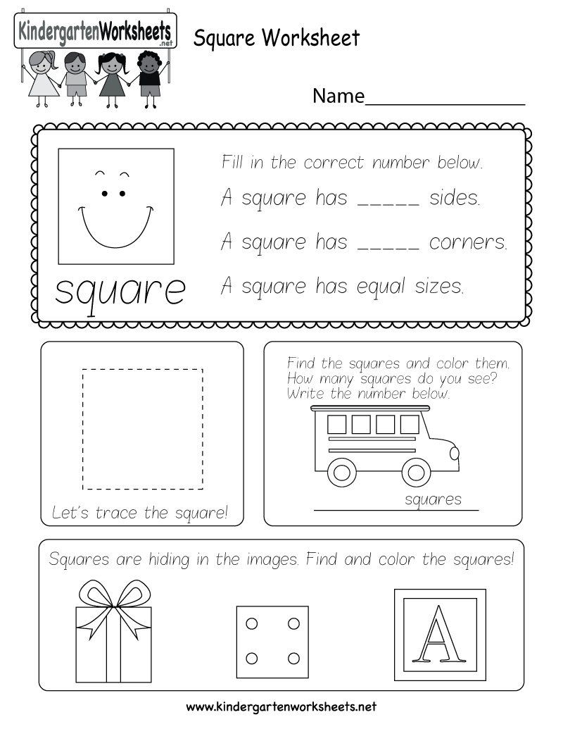 Worksheets Squares Worksheet square worksheet free kindergarten geometry for kids printable