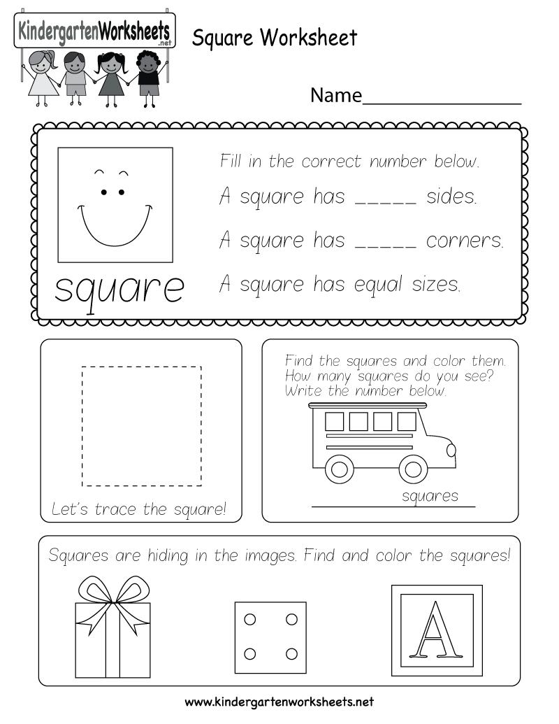 Worksheets Squares Worksheet square worksheet free kindergarten geometry for kids printable