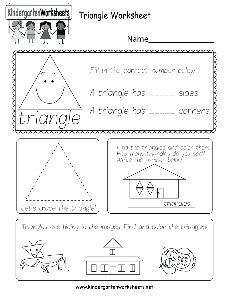 image regarding Triangle Printable identified as Totally free Printable Triangle Worksheet for Kindergarten