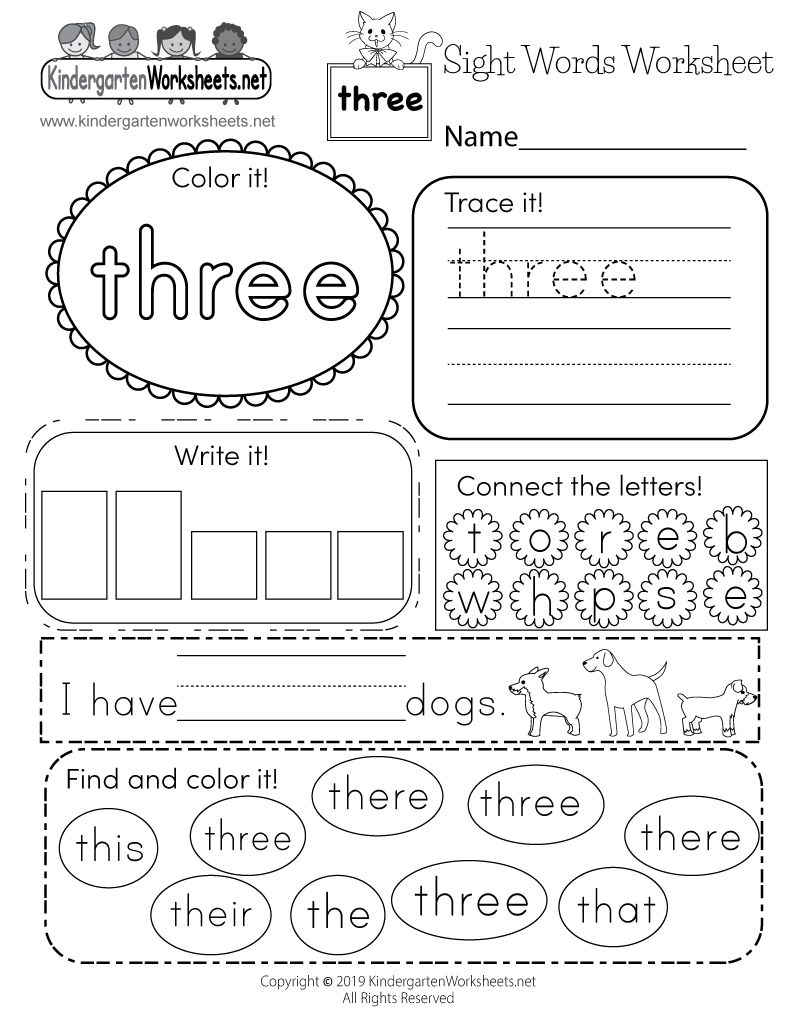 Free Kindergarten Sight Words Worksheets Learning words visually – Printable Sight Word Worksheets for Kindergarten