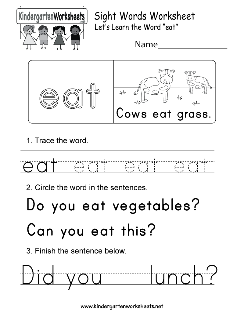 Sight Word Eat Worksheet Free Kindergarten English