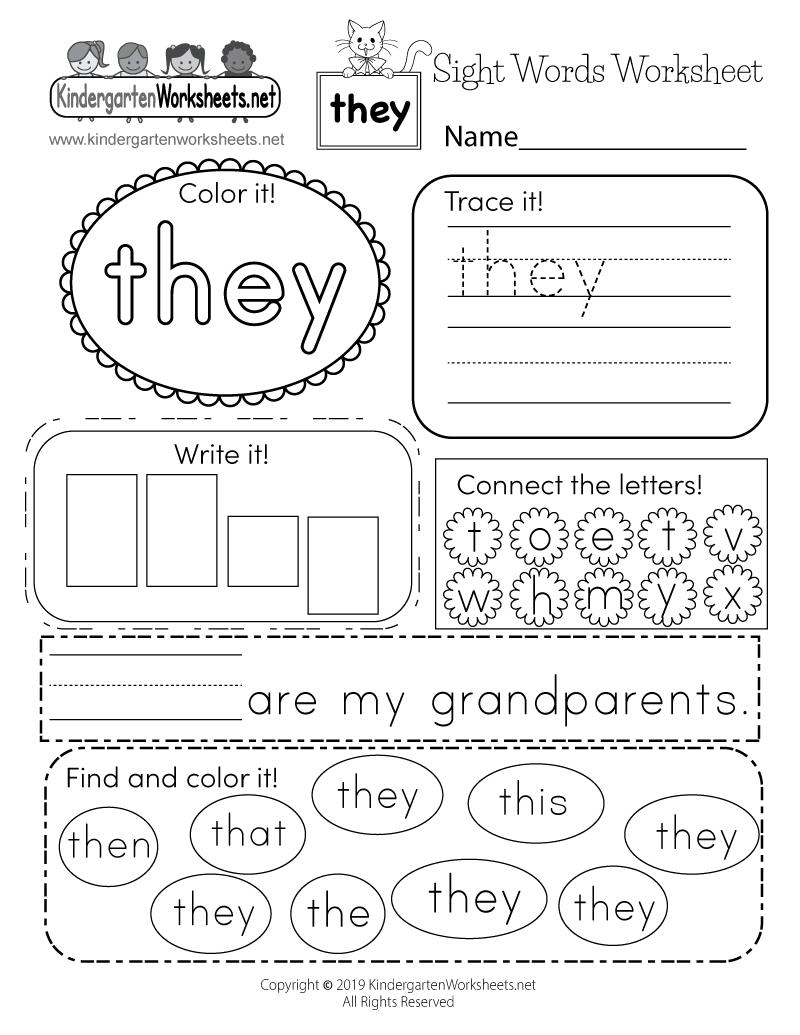 they sight word worksheet printable - Sight Word Kindergarten Worksheet