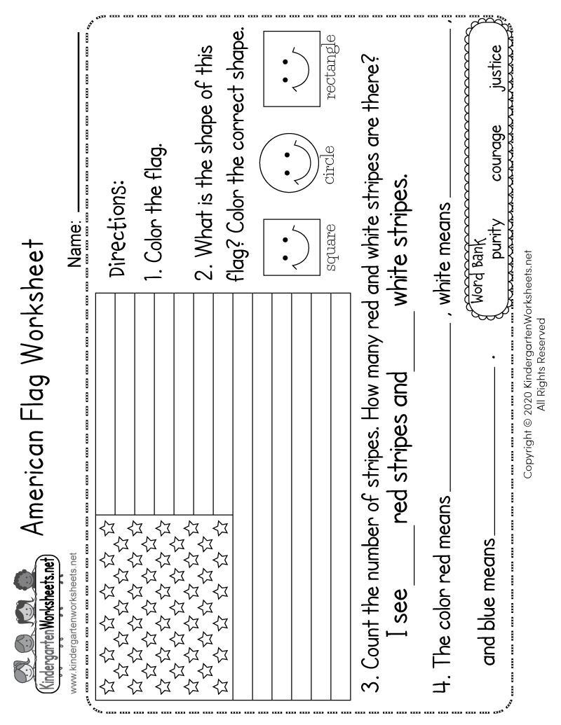 Kindergarten American Flag Worksheet Printable