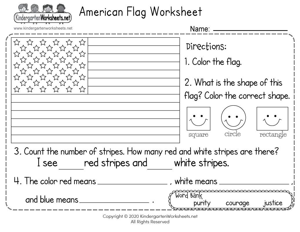 American Flag Worksheet - Free Kindergarten Learning ...