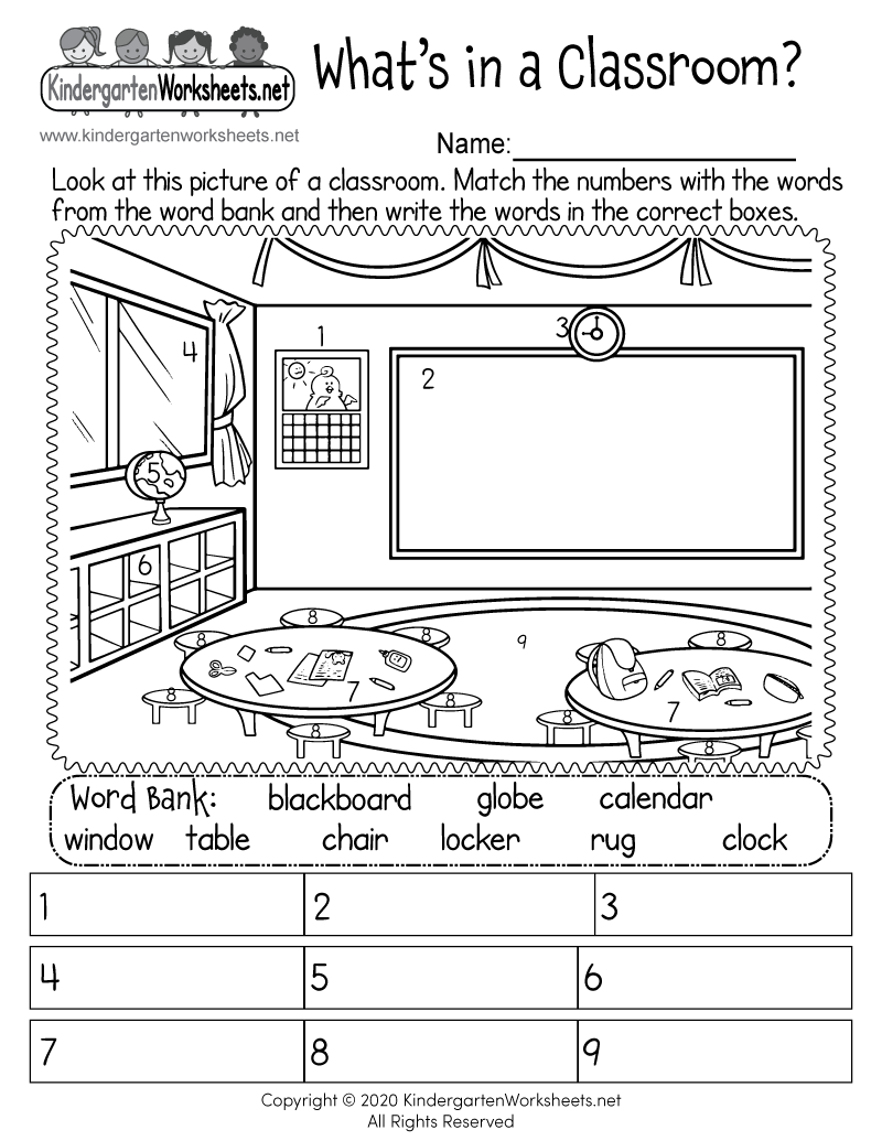 Kindergarten Classroom Objects Worksheet Printable