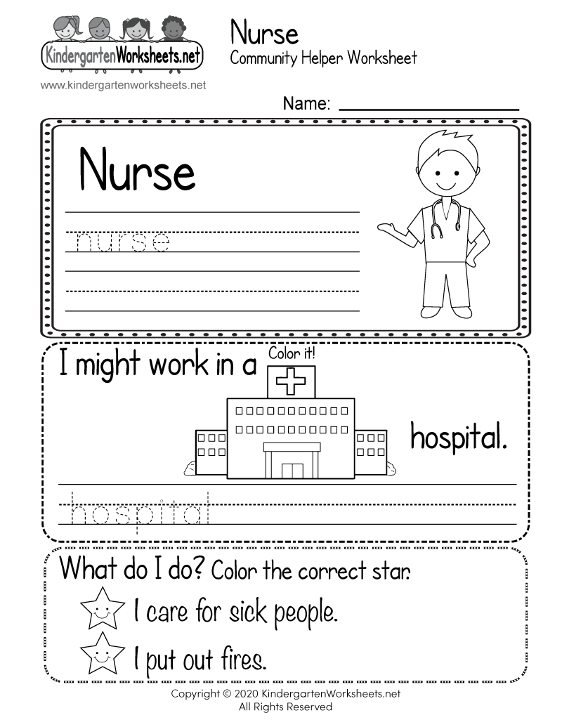 Kindergarten Nurse Community Helper Worksheet Printable