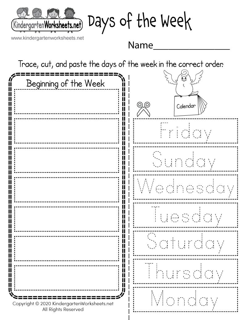 Free Printable Days Of The Week Worksheets For Kindergarten
