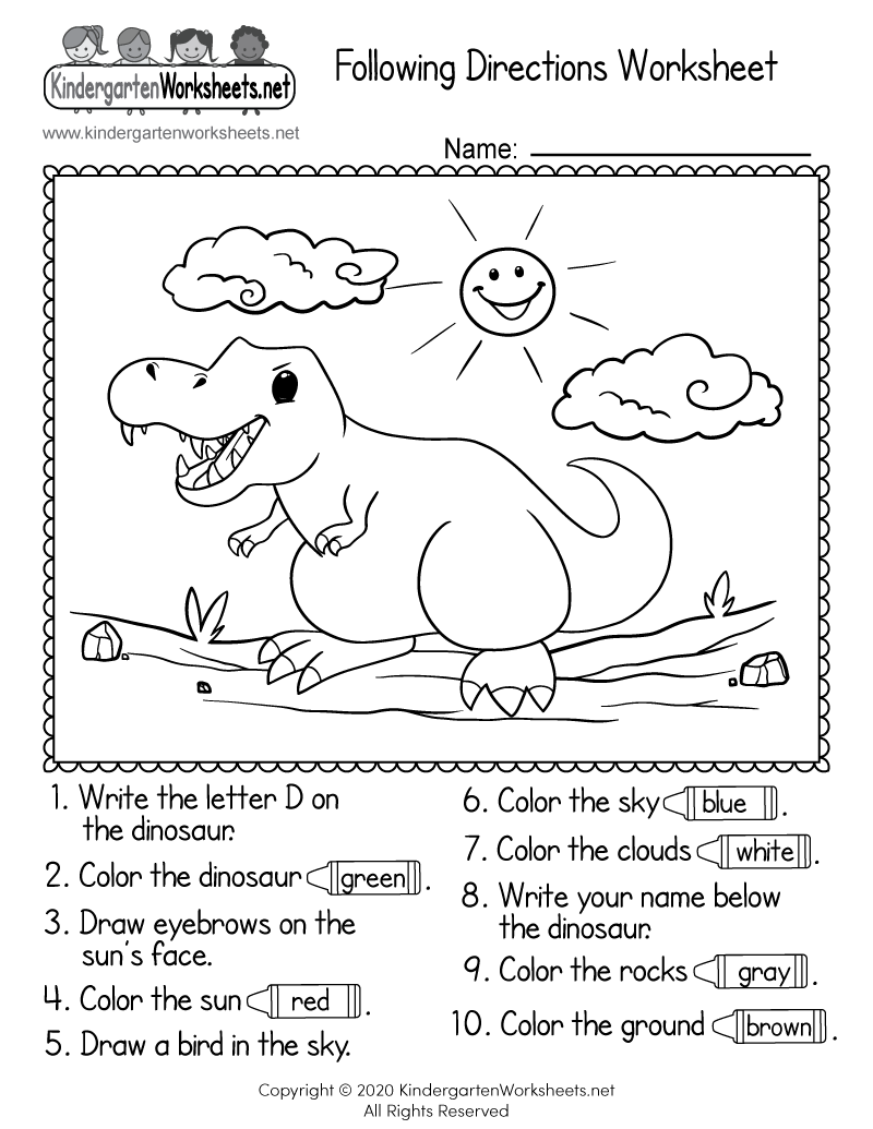 Free Printable Following Directions Worksheet for Kindergarten