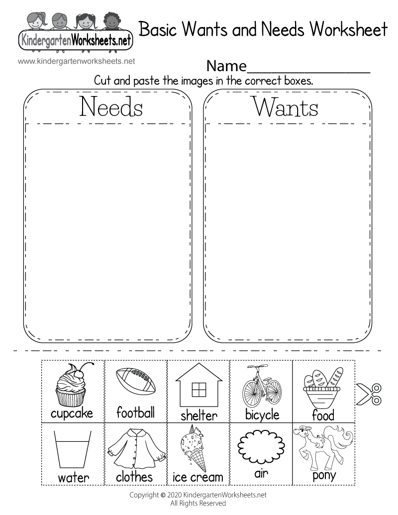 worksheet Wants And Needs Worksheet identifying basic wants and needs worksheet free kindergarten printable